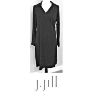 J. Jill Faux Wrap Black Wearever Dress Large